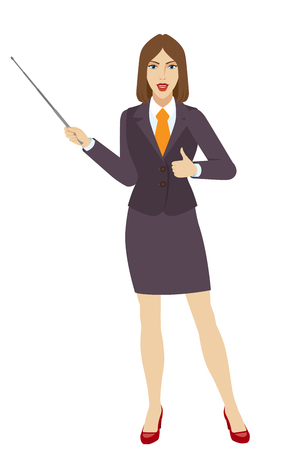 Businesswoman holding a pointer and showing thumb up. Full length portrait of businesswoman character in a flat style. Vector illustration. Illustration