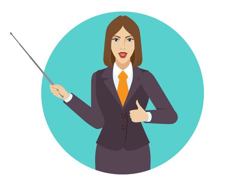 Businesswoman holding a pointer and showing thumb up. Portrait of businesswoman character in a flat style. Vector illustration.