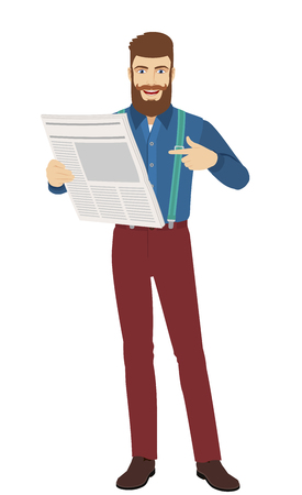 Hipster pointing at a newspaper. Full length portrait of hipster character in a flat style. Vector illustration.