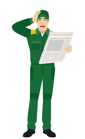 bad news: Bad news. Worker with newspaper grabbed his head. Full length portrait of Delivery man or Worker Character in a flat style. Vector illustration. Illustration
