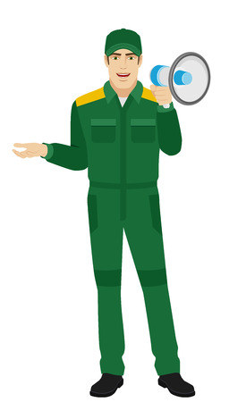Worker with loudspeaker gesturing. Full length portrait of Delivery man or Worker Character in a flat style. Vector illustration. Illustration
