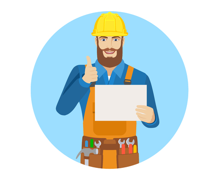 Worker holding a a paper and showing thumb up. Portrait of worker character in a flat style. Vector illustration.