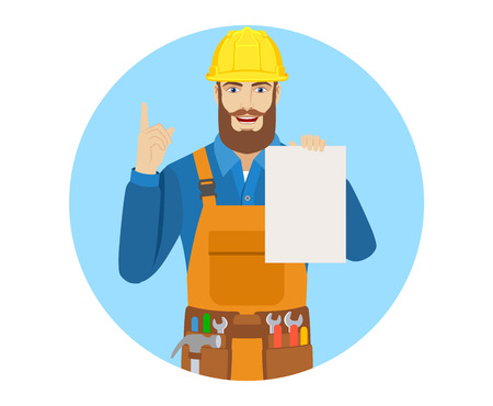 Worker holding a a paper and pointing up. Portrait of worker character in a flat style. Vector illustration. Illustration
