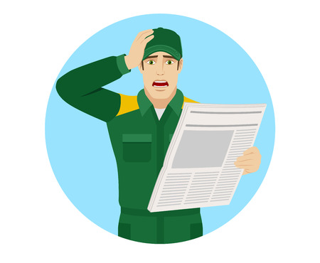 Bad news. Worker with newspaper grabbed his head. Portrait of Delivery man or Worker in a flat style. Vector illustration.