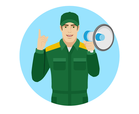 Worker holding loudspeaker and pointing up. Portrait of Delivery man or Worker in a flat style. Vector illustration. Illustration