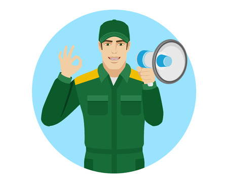 Worker with loudspeaker showing a okay hand sign. Portrait of Delivery man or Worker in a flat style. Vector illustration.
