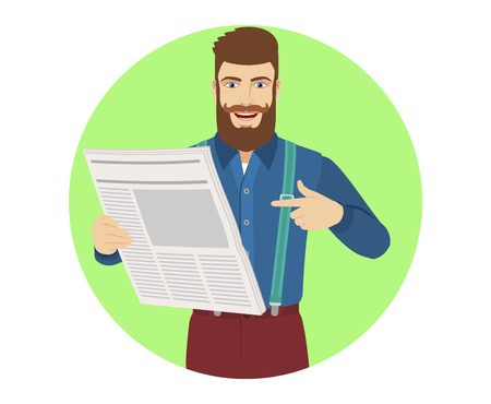 Hipster pointing at a newspaper. Portrait of hipster character in a flat style. Vector illustration. Illustration