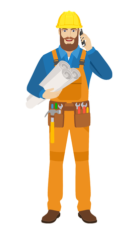 Worker holding the project plans and talking on the mobile phone. Full length portrait of worker character in a flat style. Vector illustration.