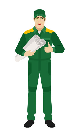 Worker holding the project plan and showing thumb up. Full length portrait of Delivery man or Worker Character in a flat style. Vector illustration.