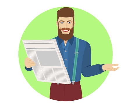 metrosexual: Hipster with newspaper gesturing. Portrait of hipster character in a flat style. Vector illustration.