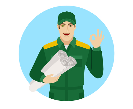 allright: Worker holding the project plan and showing a okay hand sign. Portrait of Delivery man or Worker in a flat style. Vector illustration.