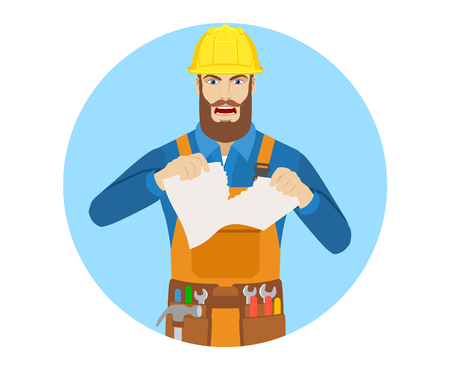 Angry Worker tearing paper. Portrait of worker character in a flat style. Vector illustration.