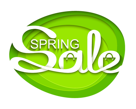 the inscription: Spring sale. Sale banner with calligraphic inscription. Vector illustration made in paper cut out style.
