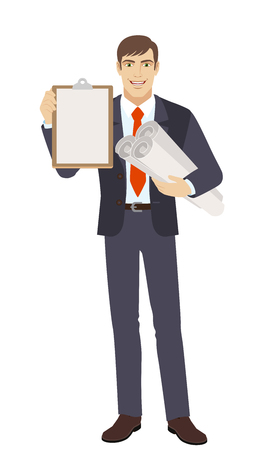 Businessman holding the project plans and clipboard. Full length portrait of businessman character in a flat style. Vector illustration. Illustration