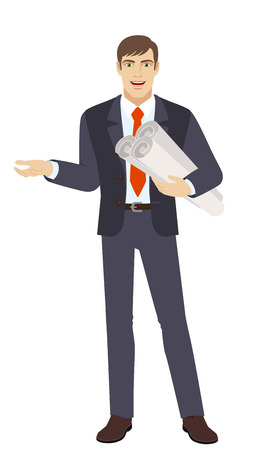 Businessman holding the project plans and gesturing. Full length portrait of businessman character in a flat style. Vector illustration.