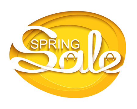 Spring sale. Sale banner with calligraphic inscription. Vector illustration made in paper cut out style.