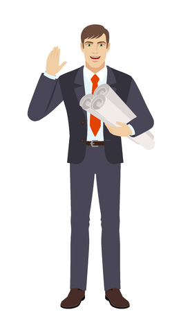Businessman holding the project plans and greeting someone with his hand raised up. Full length portrait of businessman character in a flat style. Vector illustration.
