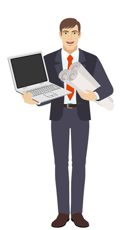 Businessman holding the project plans and holding laptop notebook. Full length portrait of businessman character in a flat style. Vector illustration. Illustration