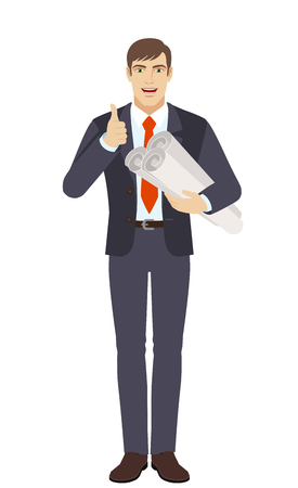 Businessman holding the project plans and showing thumb up. Full length portrait of businessman character in a flat style. Vector illustration.