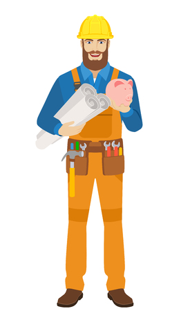Worker holding the project plans and piggy bank. Full length portrait of worker character in a flat style. Vector illustration. Illustration