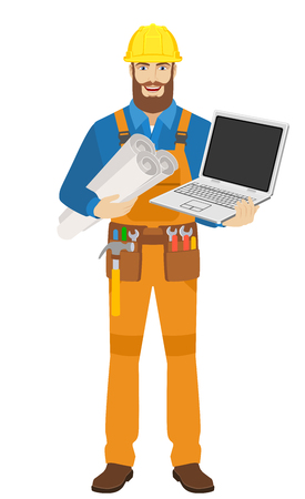Worker with laptop notebook holding the project plans. Full length portrait of worker character in a flat style. Vector illustration. Illustration