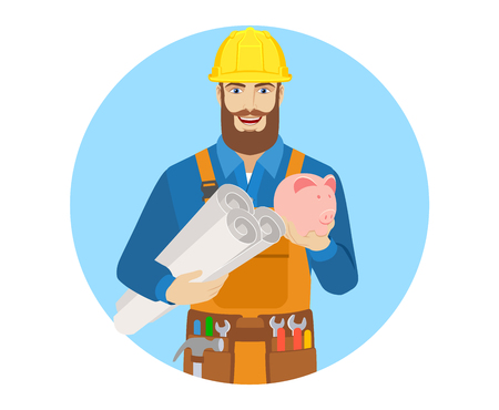 Worker holding the project plans and piggy bank. Portrait of worker character in a flat style. Vector illustration.