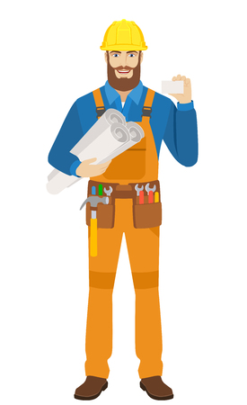 Worker holding the project plans and showing the business card. Full length portrait of worker character in a flat style. Vector illustration.