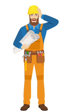 Worker holding the project plans and grabbed his head. Full length portrait of worker character in a flat style. Vector illustration. Illustration
