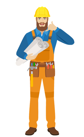 Call me! Worker holding the project plans and showing a call me sign. Full length portrait of worker character in a flat style. Vector illustration.
