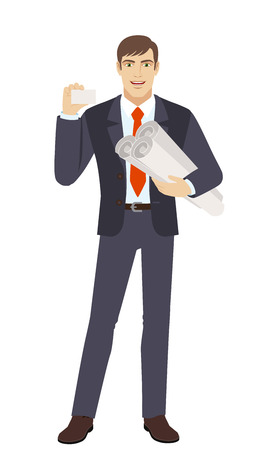 acquaintance: Businessman holding the project plans and showing the business card. Full length portrait of businessman character in a flat style. Vector illustration. Illustration
