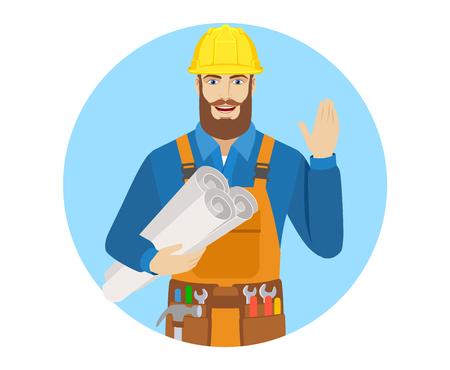acquaintance: Worker holding the project plans and greeting someone with his hand raised up. Portrait of worker character in a flat style. Vector illustration.