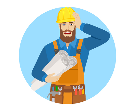 Worker holding the project plans and grabbed his head. Portrait of worker character in a flat style. Vector illustration. Illustration