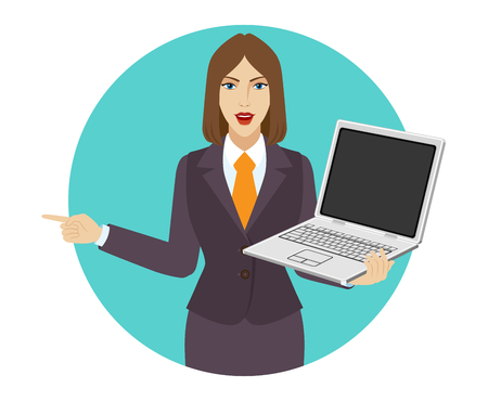 Businesswoman holding a laptop notebook and pointing something beside of her. Portrait of businesswoman in a flat style. Vector illustration. Illustration