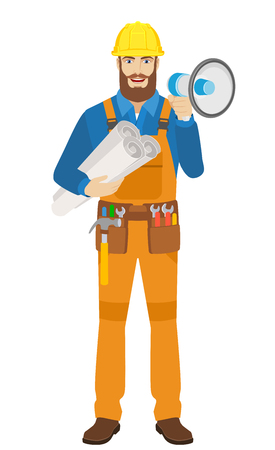 Worker with loudspeaker holding the project plans. Full length portrait of worker character in a flat style. Vector illustration. Illustration