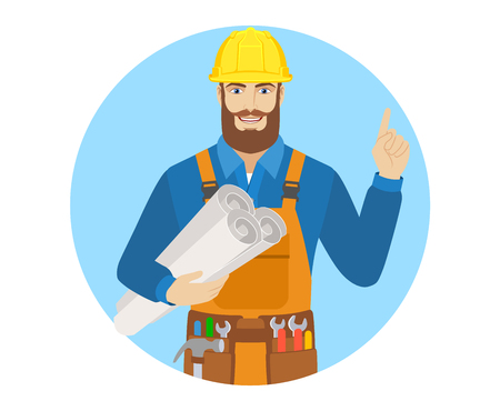 Worker holding the project plans and pointing up. Portrait of worker character in a flat style. Vector illustration. Illustration