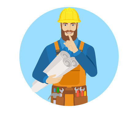 Worker holding the project plans and making hush sign. Portrait of worker character in a flat style. Vector illustration. Illustration