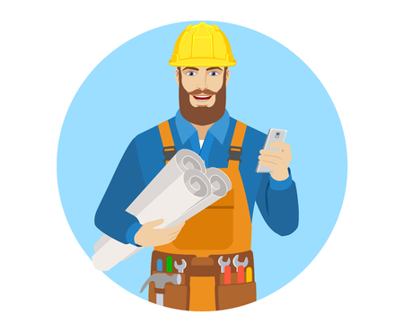 Worker with mobile phone holding the project plans. Portrait of worker character in a flat style. Vector illustration. Illustration