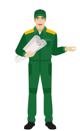 Worker holding the project plan and gesturing. Full length portrait of Delivery man or Worker Character in a flat style. Vector illustration. Illustration