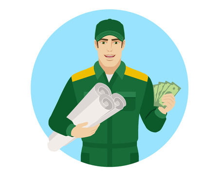 Worker holding the project plan and showing cash money. Portrait of Delivery man or Worker in a flat style. Vector illustration.