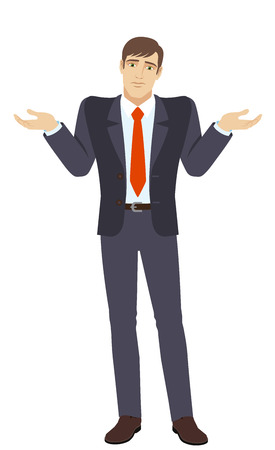 I don't know. Businessman with an I don't know gesture. Full length portrait of businessman character in a flat style. Vector illustration.