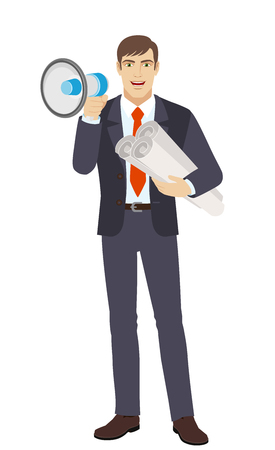 Businessman with loudspeaker holding the project plans. Full length portrait of businessman character in a flat style. Vector illustration.