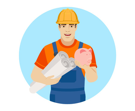Builder holding the project plans and piggy bank. Portrait of builder character in a flat style. Vector illustration. Illustration