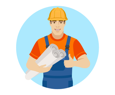 Builder holding the project plans and showing thumb up. Portrait of builder character in a flat style. Vector illustration. Illustration