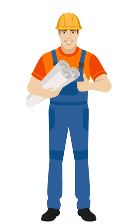 Builder holding the project plans and showing thumb up. Full length portrait of builder character in a flat style. Vector illustration.