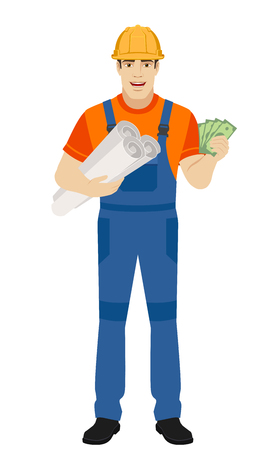 Builder holding the project plans and showing cash money. Full length portrait of builder character in a flat style. Vector illustration. Illustration