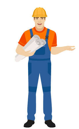 Builder holding the project plans and gesturing. Full length portrait of builder character in a flat style. Vector illustration. Illustration