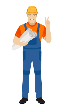 Victory! Two thumbs up. Builder holding the project plans and showing victory sign. Full length portrait of builder character in a flat style. Vector illustration.