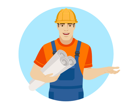 Builder holding the project plans and gesturing. Portrait of builder character in a flat style. Vector illustration. Illustration