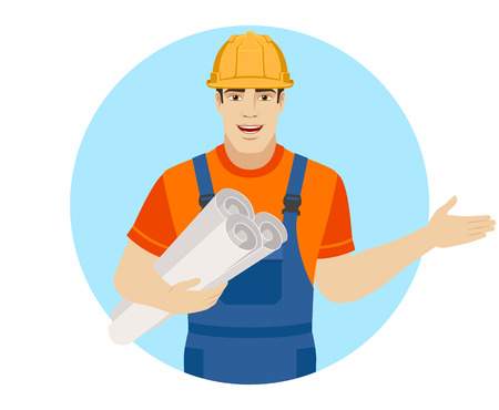 Welcome! Builder holding the project plans and showing something beside of him. Portrait of builder character in a flat style. Vector illustration.