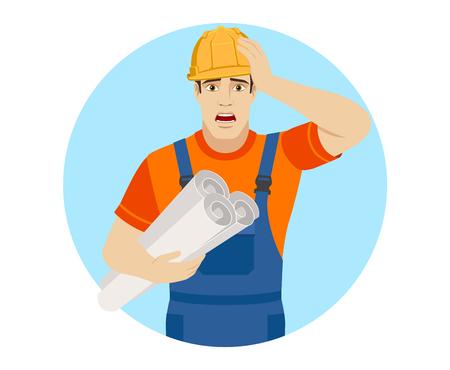 Erbauer, der die Projektpläne hält und packte seinen Kopf. Portrait des Erbauercharakters in einer flachen Art. Vektor-Illustration. Standard-Bild - 79887913